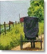 Amish Buggy In Ohio Metal Print