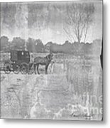 Amish Buggy In Old Book Metal Print
