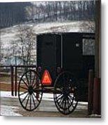 Amish Buggy In Winter Metal Print