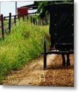Amish Buggy On Dirt Road Metal Print