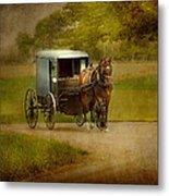 Amish Buggy Ride Metal Print