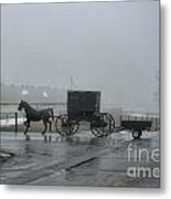 Amish  Buggy Winter Day Metal Print