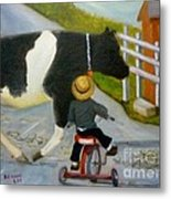 Amish Cattle Crossing Metal Print