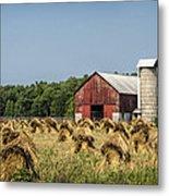 Amish Country Wheat Stacks And Barn Metal Print