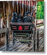 Amish Family On Covered Bridge Metal Print by Gene Sherrill