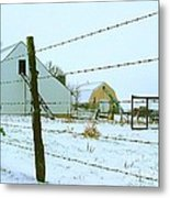 Amish Farm In Winter Metal Print by Julie Dant