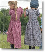 Amish Girls Having Fun Metal Print