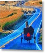 Amish Horse And Buggy In Autumn Metal Print