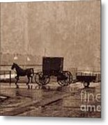 Amish Horse And Buggy With Wagon Bw Metal Print