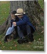 Amish Kids Metal Print by R A W M