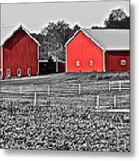 Amish Red Barn And Farm Metal Print