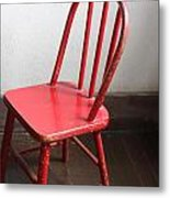 Amish Red Chair Metal Print