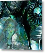 Ammonite Seascape Metal Print