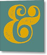 Ampersand Poster Blue And Yellow Metal Print by Naxart Studio