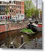 Amstel River Waterfront In Amsterdam Metal Print