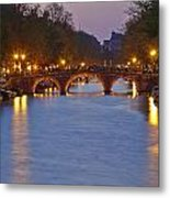 Amsterdam - Canal In The Evening Metal Print