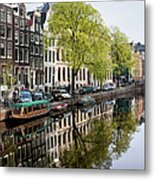 Amsterdam Canal In Spring Metal Print