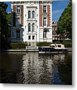 Amsterdam Canal Mansions - Bright White Symmetry  Metal Print