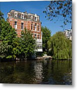 Amsterdam Canal Mansions - Floating By Metal Print