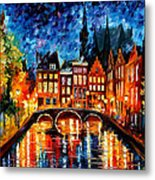 Amsterdam-canal - Palette Knife Oil Painting On Canvas By Leonid Afremov Metal Print