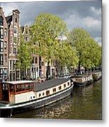 Amsterdam Canal Waterfront Metal Print