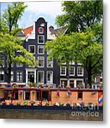 Amsterdam Canal With Houseboat Metal Print
