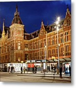 Amsterdam Central Station And Tram Stop At Night Metal Print