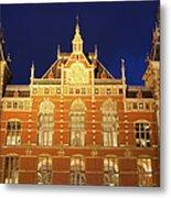 Amsterdam Central Train Station At Night Metal Print