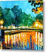 Amsterdam-early Morning - Palette Knife Oil Painting On Canvas By Leonid Afremov Metal Print