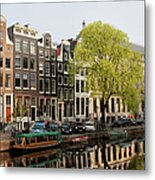 Amsterdam Houses Along The Singel Canal Metal Print