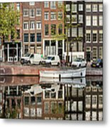 Amsterdam Houses By The Singel Canal Metal Print