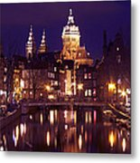 Amsterdam In The Netherlands By Night Metal Print
