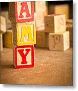 Amy - Alphabet Blocks Metal Print
