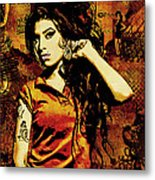 Amy Winehouse 24x36 Mm Reg Metal Print by Dancin Artworks