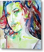 Amy Winehouse Watercolor Portrait.1 Metal Print