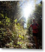 An Adult Woman Trail Running Metal Print