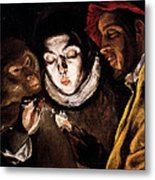 An Allegory With A Boy Lighting A Candle In The Company Of An Ape And A Fool Metal Print