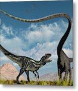 An Allosaurus In A Deadly Battle Metal Print