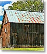 An American Barn 2 Oil Metal Print