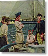An American Privateer Taking A British Prize, Illustration From Pennsylvanias Defiance Metal Print