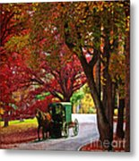 An Amish Autumn Ride Metal Print