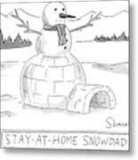 An Arctic Igloo With A Snowman Top Metal Print