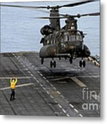 An Army Mh-47g Chinook Conducts Deck Metal Print