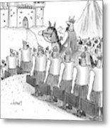 An Army Of Vikings Hold Briefcases Metal Print
