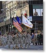 An Army Outfit Marching In The 2009 New York St. Patrick Day Parade Metal Print