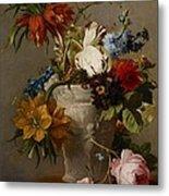 An Arrangement With Flowers Metal Print by Georgius Jacobus Johannes van Os