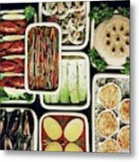 An Assortment Of Food In Containers Metal Print