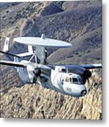 An E-2c Hawkeye Aircraft Flies Metal Print