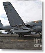 An Ea-6b Prowler Prepares To Launch Metal Print