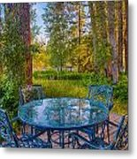 An Early Morning On The Deck At Cottonwood Cottage Metal Print